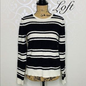 LOFT SMALL BLACK AND WHITE FUZZY SWEATER